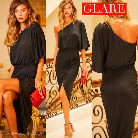 GLARE OneShoulder 3/4 Ruffle Sleeve WrapSkirt Bodycon Dress