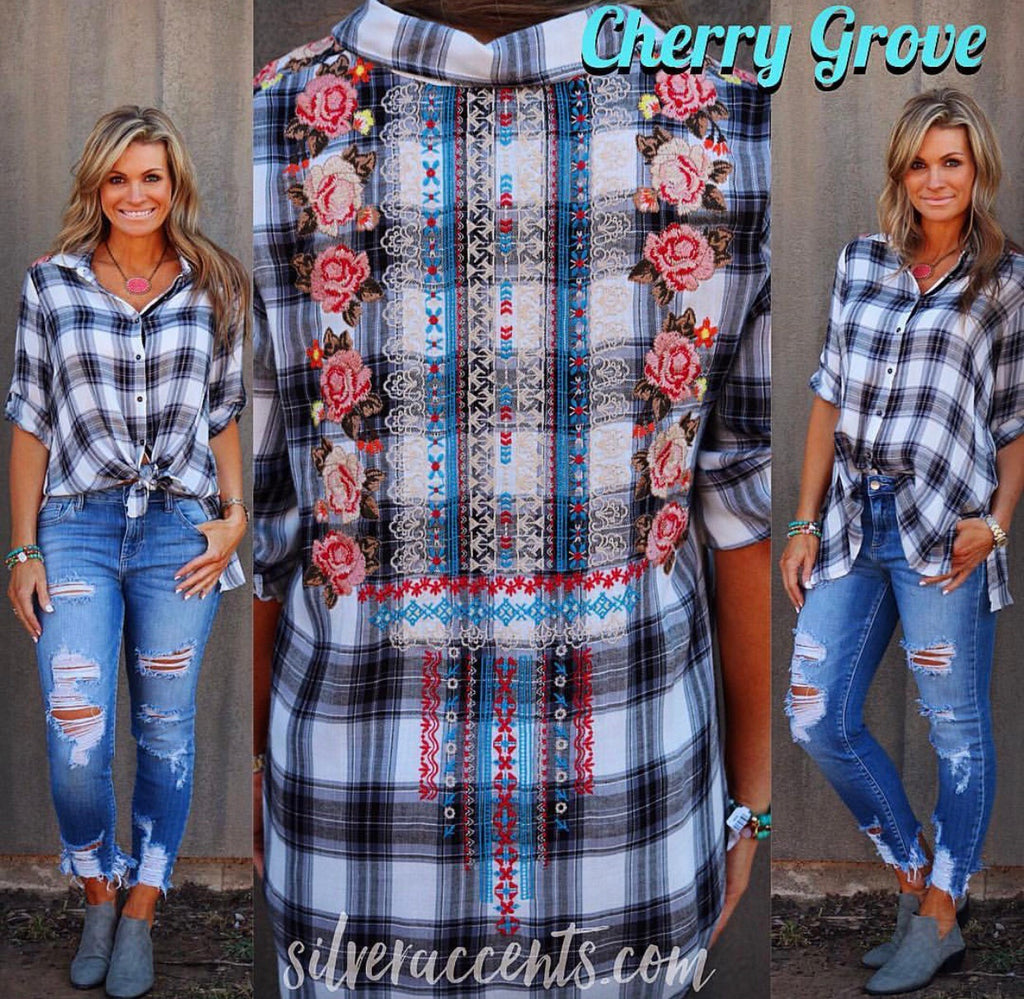 CHERRY GROVE Embroidered Floral Plaid ButtonDown Top