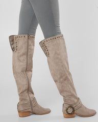 NOT RATED Taupe BELICIA Over The Knee Studded Tall Boots Shoes