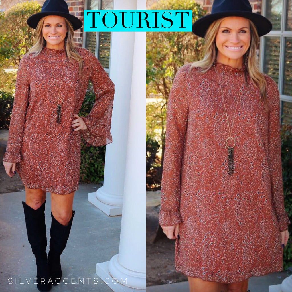 TOURIST Cheetah Ruffle MockNeck Chiffon Dress