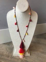 Beaded and Tassel Fringe Red Necklace
