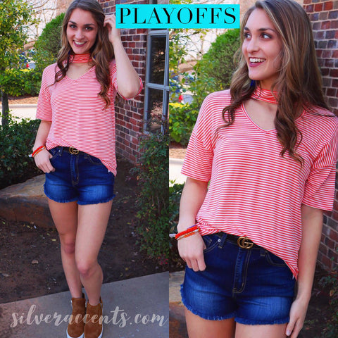 PLAYOFFS Stripe Cutout ChokerNeck ShortSleeve Jersey Top