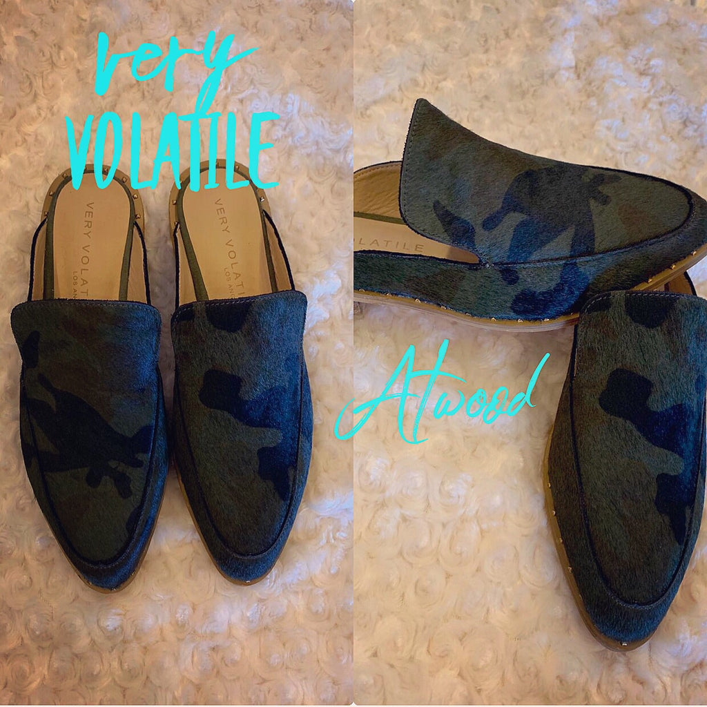 VERY VOLATILE Camo ATWOOD Calf Hair Leather Mule Shoe