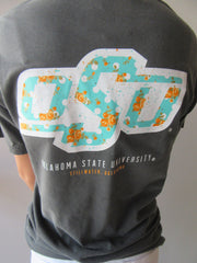 OSU Teal Floral Logo Comfort Colors Short Sleeve Tee Top