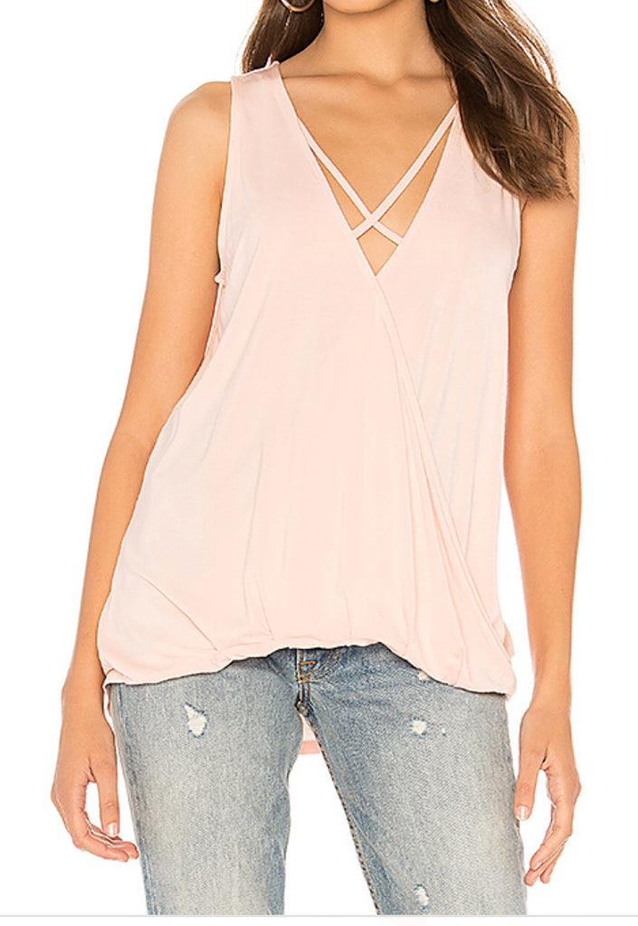 BOBI Blush DISTINCT Cross Over Tank Top