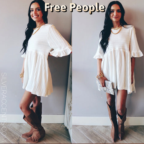 FREE PEOPLE Pleated TAKE A SPIN Babydoll Tunic Dress