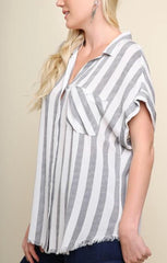 KEEPING SCORE Stripe Collared Button Down Frayed Hem Top