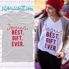 CALAMITY JANE V-Neck JESUS Best. Gift. Ever. Triblend Tee Top