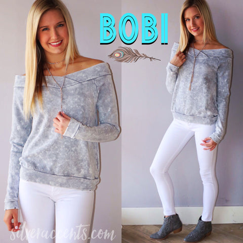 BOBI Roller Painted MARBLE OffShoulder French Terry Top