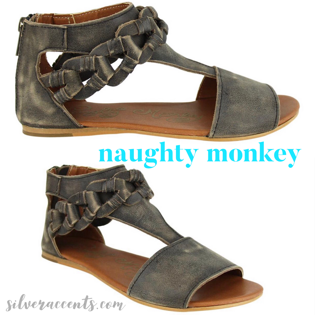 NAUGHTY MONKEY Black LOOP D'LOOP Distressed Leather Sandal Shoe