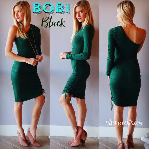 BOBI BLACK Emerald ENVIOUS OneShoulder Shirred Luxe Jersey Dress
