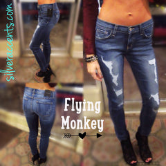 FLYING MONKEY Fused Distressed FERRIS BLUE Skinny Jean