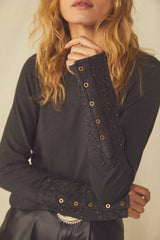 FREE PEOPLE Embroidered HOOKED ON YOU CUFF MockNeck Top