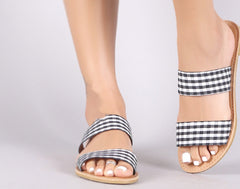 EXCURSION Gingham Double Band Sandal Shoe