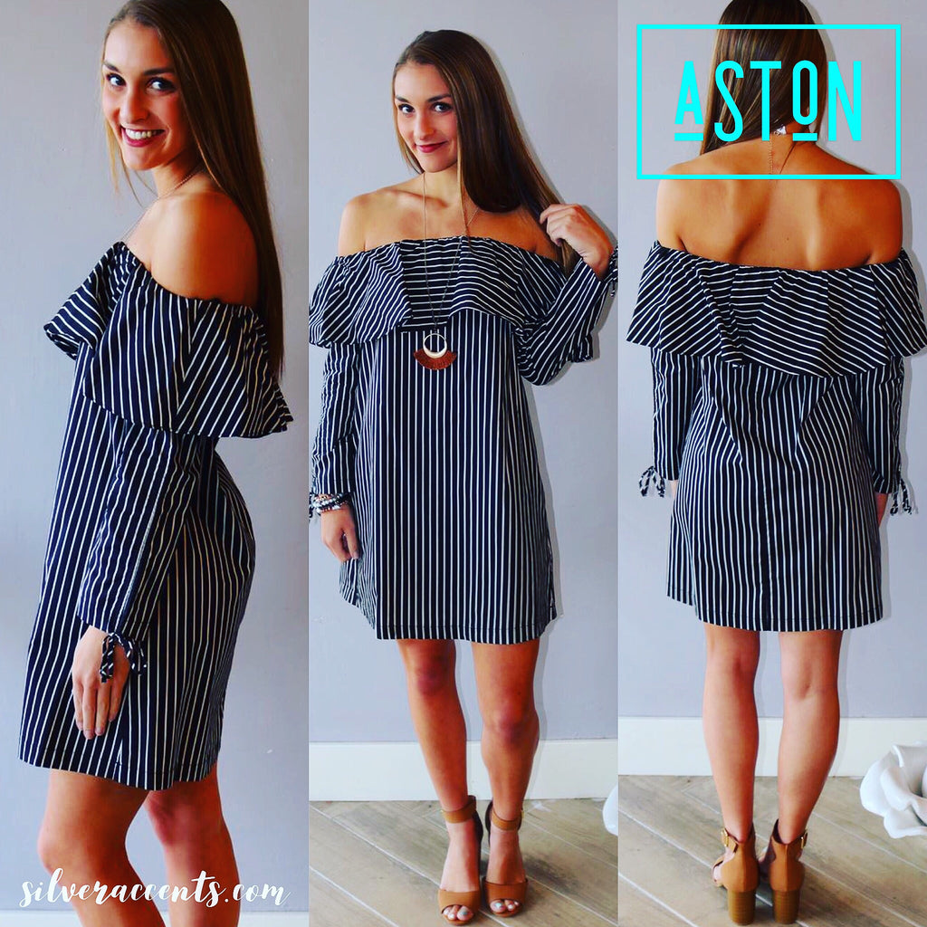 ASTON Stripe Ruffled OffShoulder TieSleeve Woven Dress