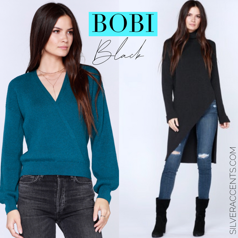 BOBI BLACK Fine RibKnit PRESTIGE Asymmetric Sweater Tunic Top
