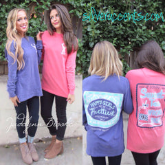 JADELYNN BROOKE Audrey HAPPY GIRLS Long Sleeve Comfort Colors Tee