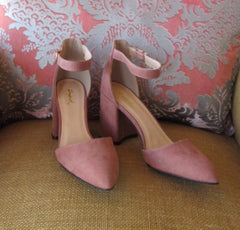 Mauve MILAN Suede Mary Jane AnkleStrap BlockHeel Shoes