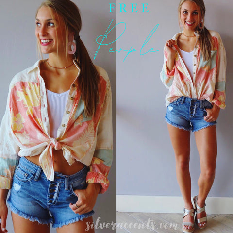 FREE PEOPLE Colorblock CHASING WAVES Tropical Print Button Down Top