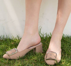 SOPHISTICATED Buckle Mule Taupe Shoe