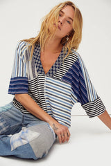 FREE PEOPLE Mixed~Print THE STRIPE IS RIGHT Top