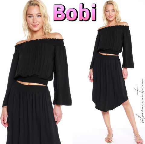 BOBI Beach Crepe GALLERY Smock Skirt