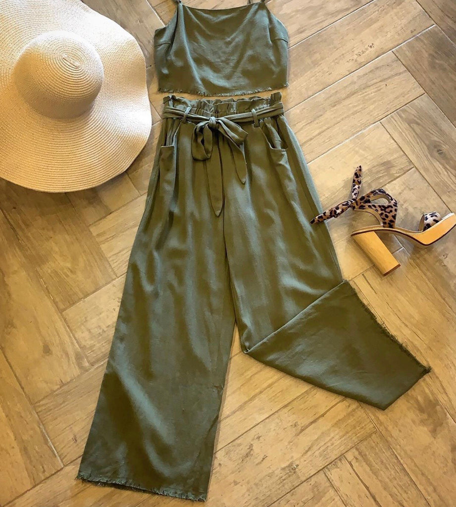 ALLURE 2pc FrayHem Cami/TieWaist Linen Pant Set
