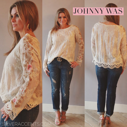 JOHNNY WAS COLLECTION Tonal Embroidered PAULINA Floral Sleeve LaceTrim Top