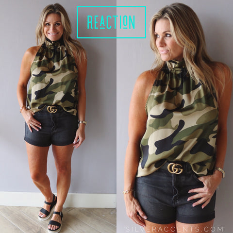 REACTION Camouflage Gather HiNeck Satin Sleeveless Top