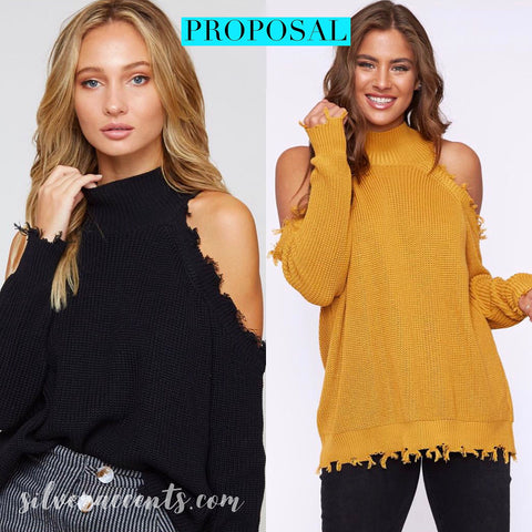PROPOSAL Distressed ColdShoulder MockNeck RibKnit Sweater Top