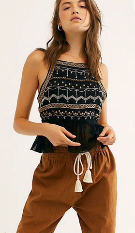 FREE PEOPLE Embellished CAMILLE Cami Top