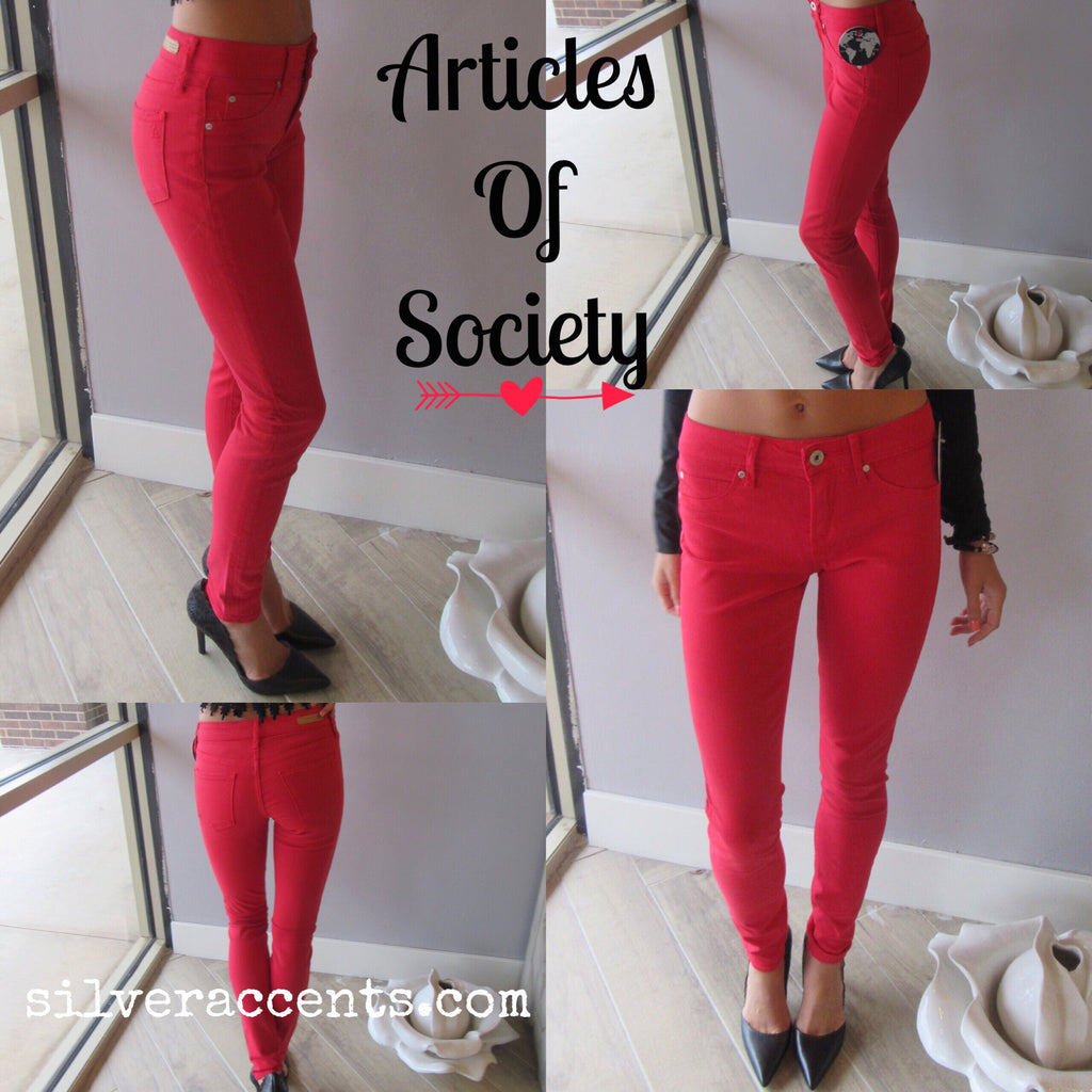 ARTICLES OF SOCIETY Real Red MYA Skinny Jeans