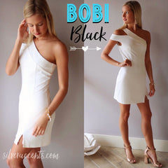 BOBI BLACK White PRESTIGE Cutout OneShoulder Bodycon Dress
