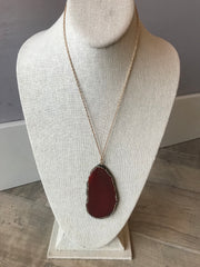 Orange Carnelian GEODE Necklace