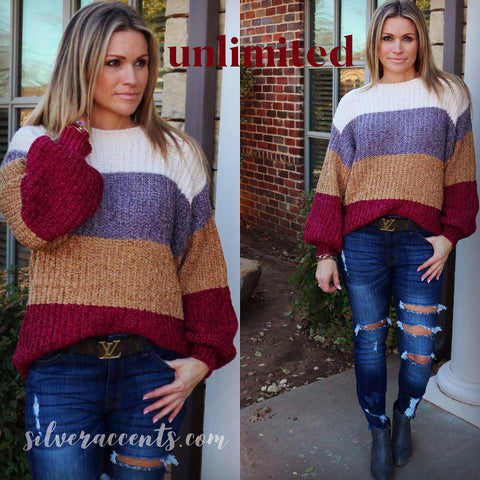 UNLIMITED Chenille ColorBlock Stripe BalloonSleeve Sweater Top