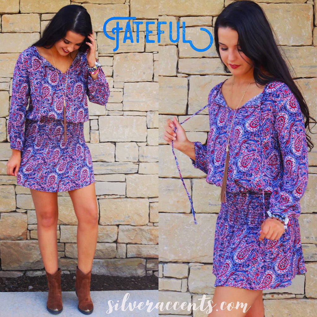FATEFUL Paisley Smock DropWaist ScoopHem Dress
