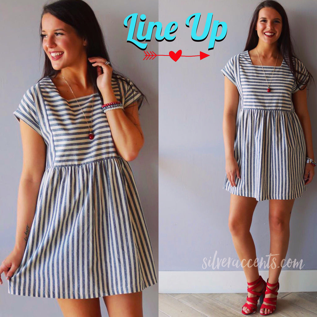 LINE UP Striped Babydoll Woven Dress