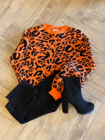 GALLAGHER Leopard Print Waist Crop Sweater