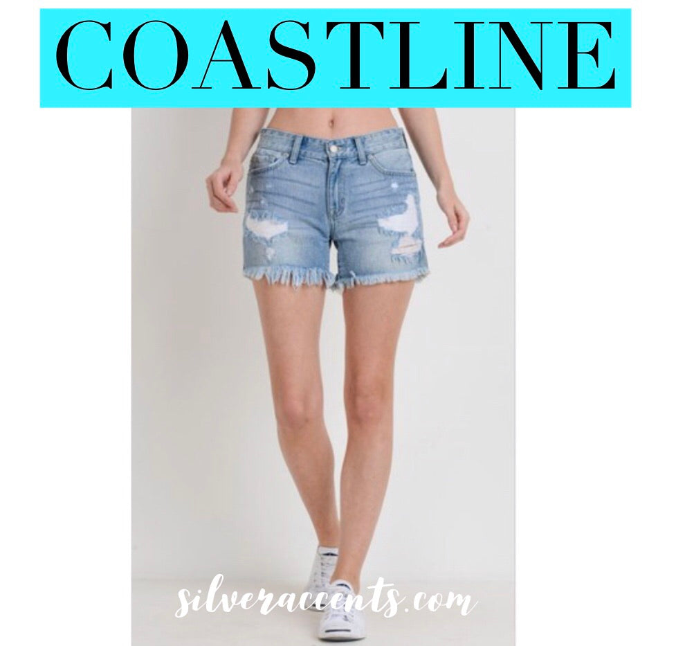 COASTLINE Distressed MidRise FringHem Denim Short