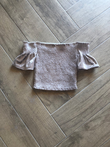 PLUSH Velvet Off Shoulder Smock WaistCrop Top