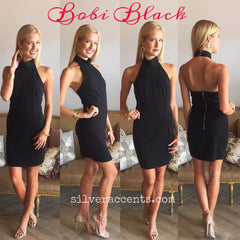 BOBI BLACK MockNeck FUEL THE FIRE Halter Dress