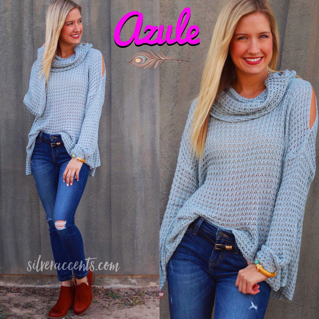 AZULE CowlNeck ColdShoulder Lightweight Sweater Top