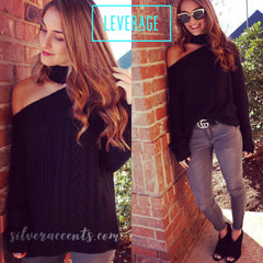 LEVERAGE OneShoulder Cutout ChokerNeck CableKnit Sweater Top