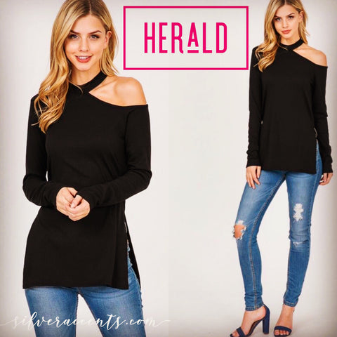 HERALD Cutout OneShoulder RibKnit SideSlit s Tunic Top