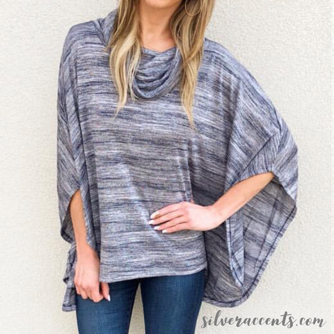 BOBI ODYSSEY Faded Heather Stripe Poncho Top