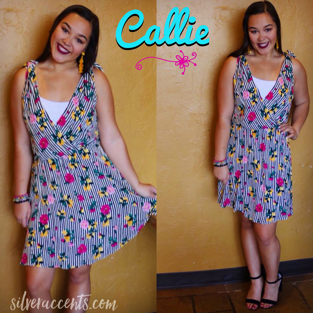 CALLIE Stripe/Floral V-Neck TieShoulder Dress