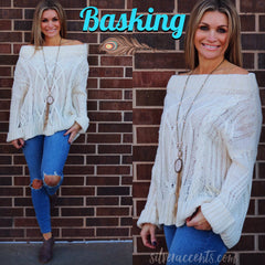 BASKING OffShoulder CableKnit Sweater Top