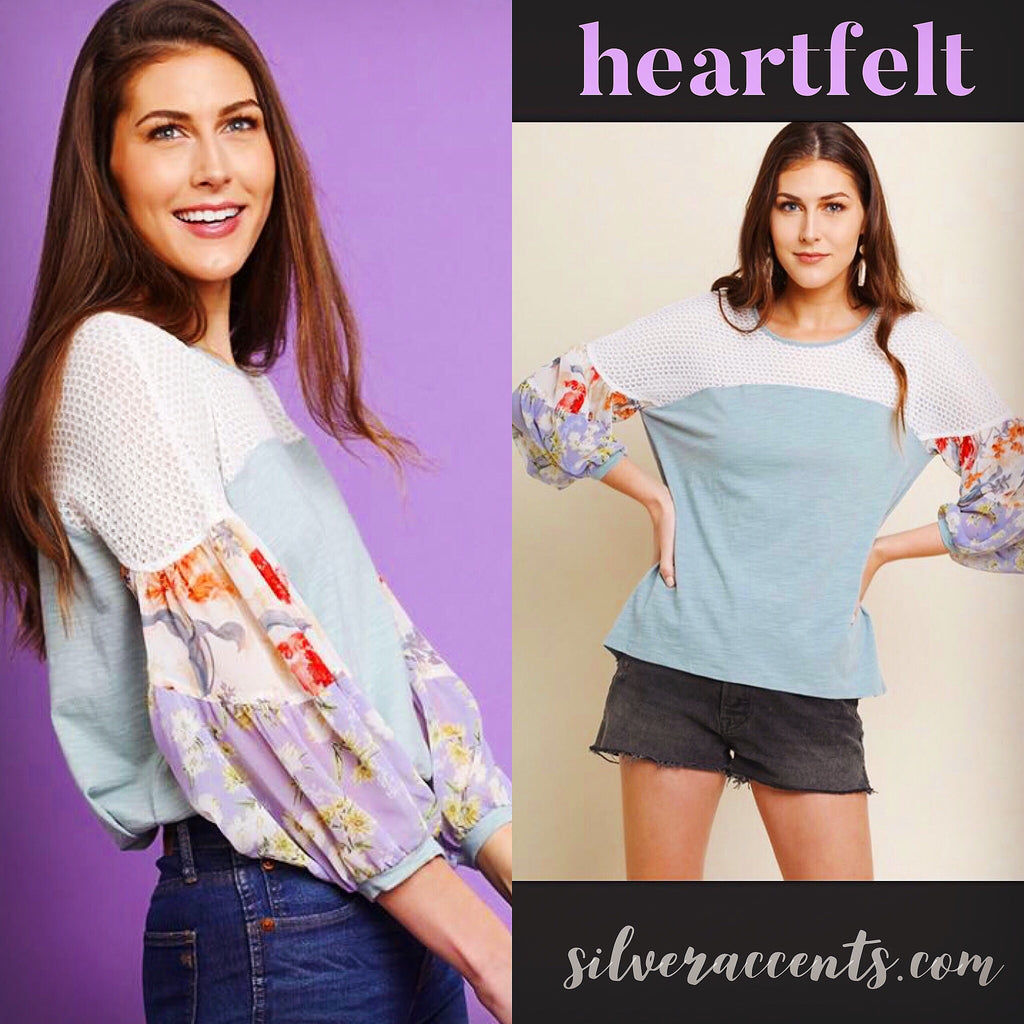 HEARTFELT Slub Jersey Mixed Floral Sleeve Mesh Detail Top