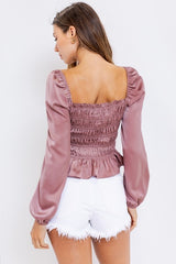 BRIDGERTON SquareNeck Shirred PuffSleeve Satin Top