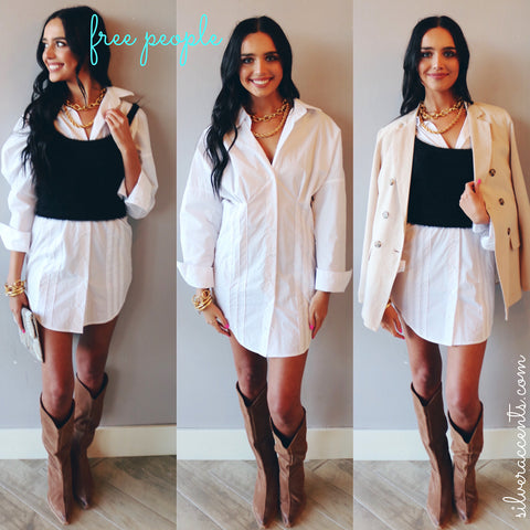 FREE PEOPLE ButtonDown TAIA Woven Shirt Dress